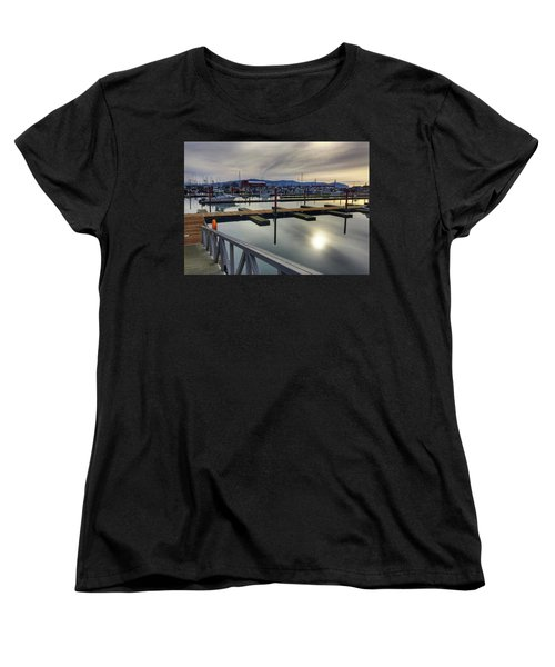 Women's T-Shirt (Standard Cut) featuring the photograph Winter Harbor by Chriss Pagani