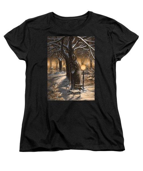 Women's T-Shirt (Standard Cut) featuring the painting Winter Magic by Veronica Minozzi