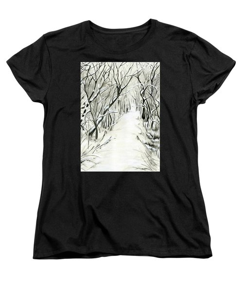 Women's T-Shirt (Standard Cut) featuring the painting Winter Scene by Nadine Dennis