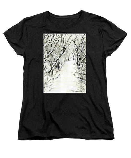 Winter Scene Women's T-Shirt (Standard Cut) by Nadine Dennis