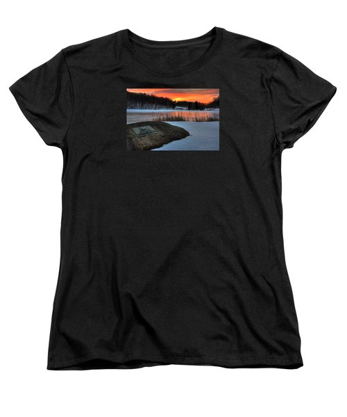Winter Sunset Abbott Lake Women's T-Shirt (Standard Cut) by Steve Hurt