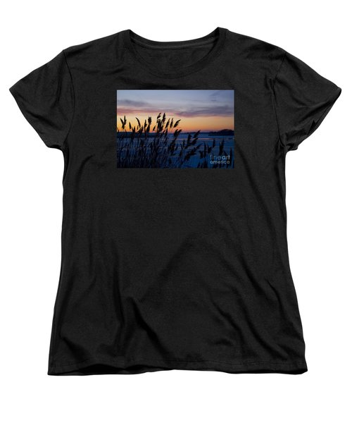 Women's T-Shirt (Standard Cut) featuring the photograph Winter Sunset  by Paula Guttilla