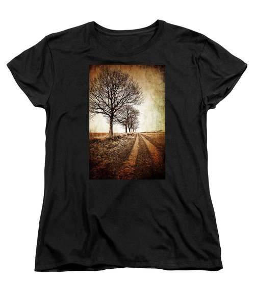Winter Track With Trees Women's T-Shirt (Standard Cut) by Meirion Matthias