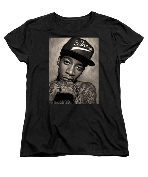 Women's T-Shirt (Standard Cut) featuring the painting Wiz Khalifa Artwork  by Sheraz A