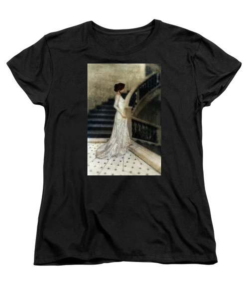 Woman In Lace Gown On Staircase Women's T-Shirt (Standard Cut) by Jill Battaglia