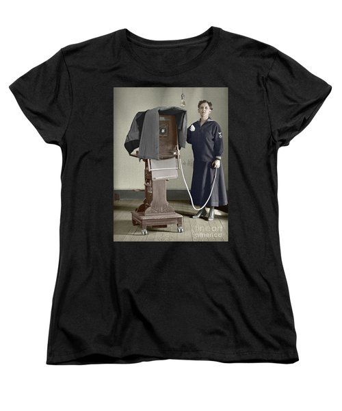 Woman Photographer With Large Camera 1900 Women's T-Shirt (Standard Cut) by Martin Konopacki Restoration