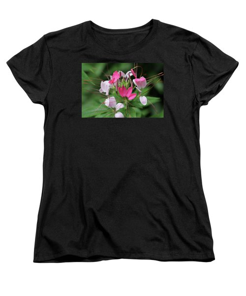 Women's T-Shirt (Standard Cut) featuring the photograph Wonders Of Cleome by Deborah  Crew-Johnson