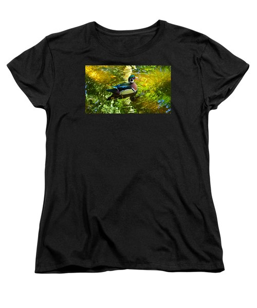 Wood Duck In Lights Women's T-Shirt (Standard Cut) by Judy Wanamaker