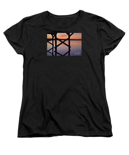 Wooden Bridge Silhouette At Dusk Women's T-Shirt (Standard Cut) by Angelo DeVal