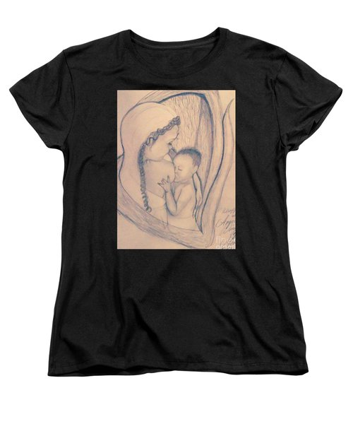 Wrapped Within The Angel Wings Of Momma Women's T-Shirt (Standard Cut) by Talisa Hartley