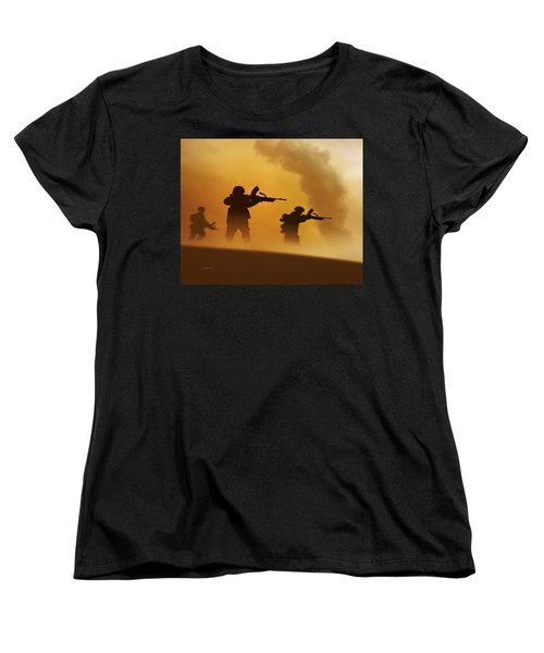 Ww2 British Soldiers On The Attack Women's T-Shirt (Standard Cut) by John Wills
