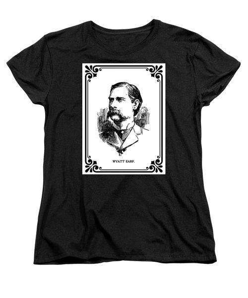 Women's T-Shirt (Standard Cut) featuring the mixed media Wyatt Earp Newspaper Portrait  1896 by Daniel Hagerman