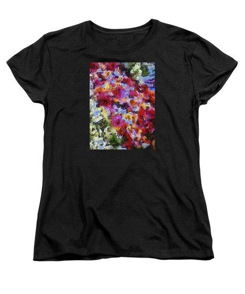 Women's T-Shirt (Standard Cut) featuring the photograph Xtreme Floral Five Cascade by Spyder Webb