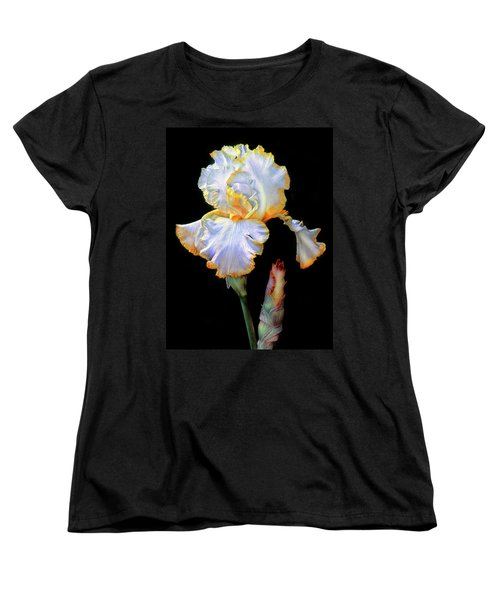 Yellow And White Iris Women's T-Shirt (Standard Cut) by Dave Mills