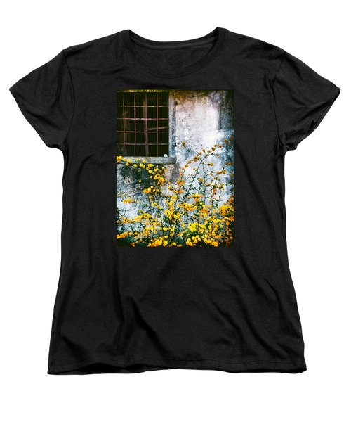 Women's T-Shirt (Standard Cut) featuring the photograph Yellow Flowers And Window by Silvia Ganora