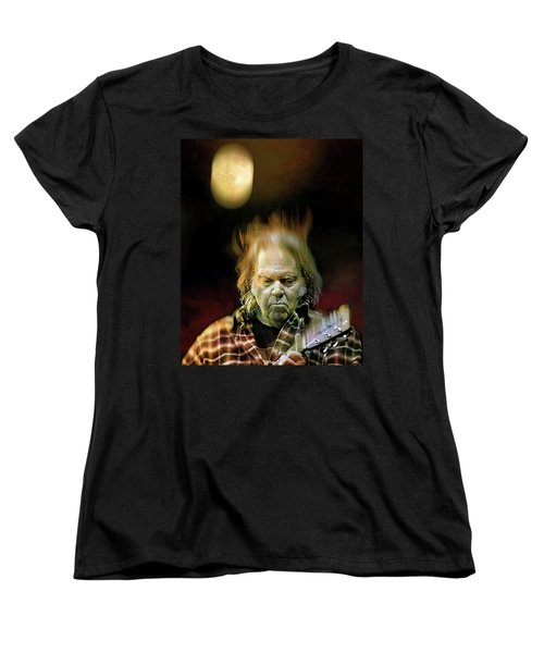 Yellow Moon On The Rise Women's T-Shirt (Standard Cut) by Mal Bray