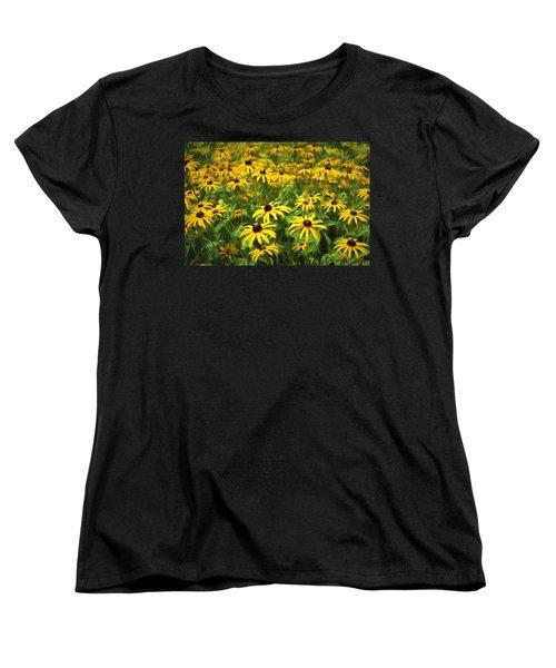 Yellow Painted Petals Women's T-Shirt (Standard Cut) by Terry Cork