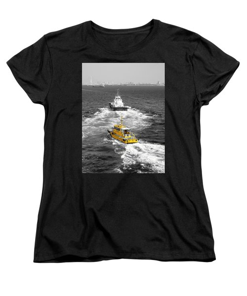 Yellow Pilot Yokohama Port Women's T-Shirt (Standard Cut) by Susan Lafleur