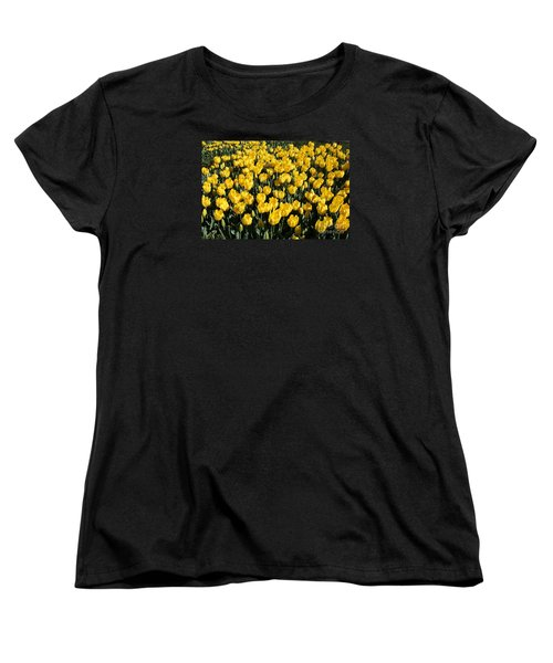 Yellow Tulips Women's T-Shirt (Standard Cut) by Bev Conover