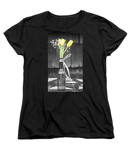 Yellow Tulips In Glass Bottle Women's T-Shirt (Standard Cut) by Terry DeLuco