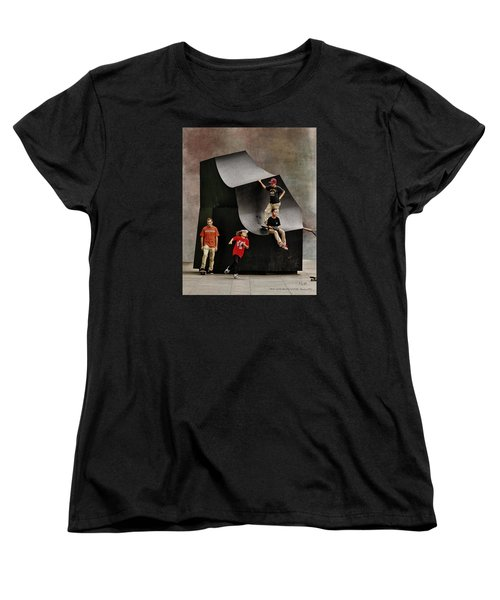 Young Skaters Around A Sculpture Women's T-Shirt (Standard Cut) by Pedro L Gili