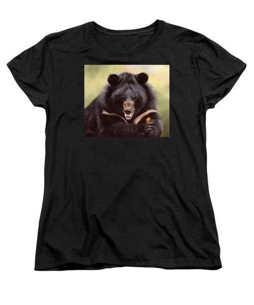 Zebedee Moon Bear - In Support Of Animals Asia Women's T-Shirt (Standard Cut) by Rachel Stribbling