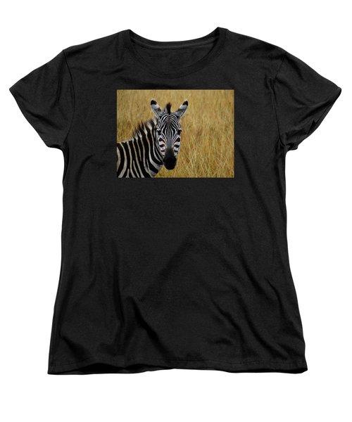 Zebra Half Shot Face On Women's T-Shirt (Standard Fit)