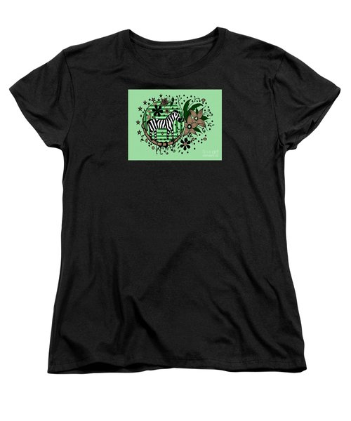 Women's T-Shirt (Standard Cut) featuring the drawing Zebra Illustration by Saribelle Rodriguez