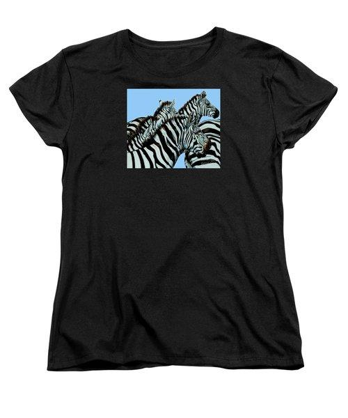 Zebra's In A Herd Women's T-Shirt (Standard Cut) by Cheryl Poland