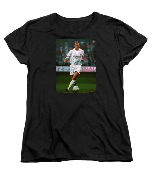 Zidane At Real Madrid Painting Women's T-Shirt (Standard Cut) by Paul Meijering