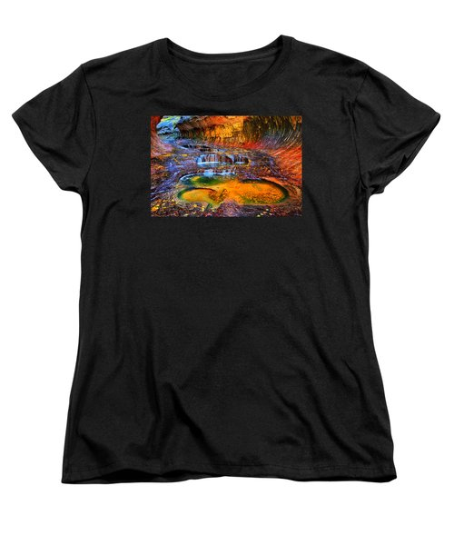 Zion Subway Falls Women's T-Shirt (Standard Cut) by Greg Norrell