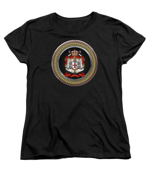 Knights Templar - Coat Of Arms Special Edition Over Black Leather Women's T-Shirt (Standard Fit)