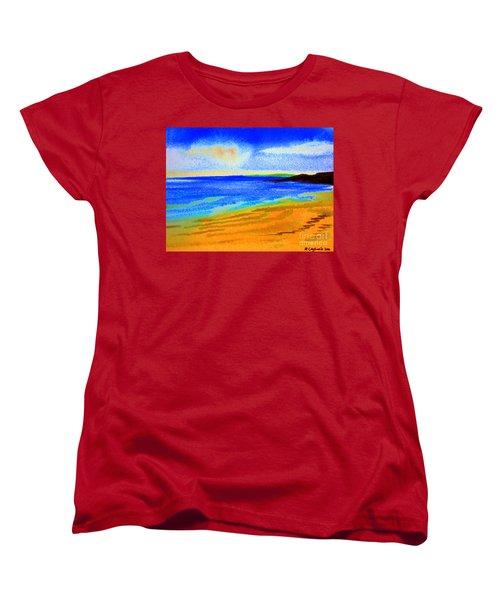 Women's T-Shirt (Standard Cut) featuring the drawing  2 Australian Beach In The Morning Near Cottesloe by Roberto Gagliardi