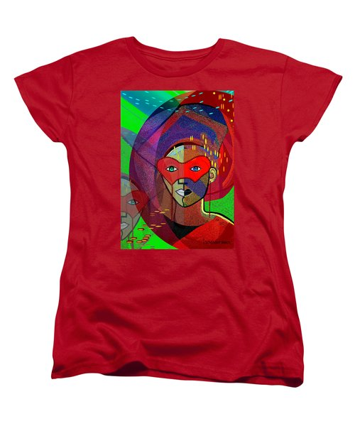 394 - Challenging Woman With Mask Women's T-Shirt (Standard Cut) by Irmgard Schoendorf Welch