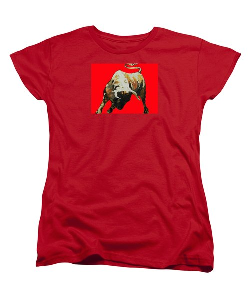 Fight Bull In Red Women's T-Shirt (Standard Cut)