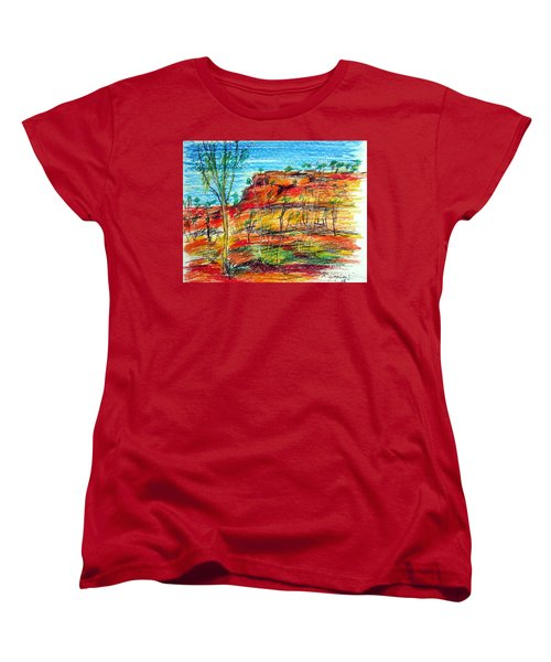 Women's T-Shirt (Standard Cut) featuring the painting  Kimberly Bold Cliffs Australia Nt by Roberto Gagliardi