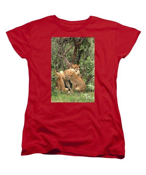 Masai Mara Lion Cubs Women's T-Shirt (Standard Cut) by Aidan Moran