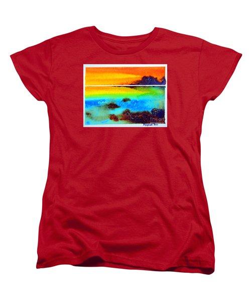 Women's T-Shirt (Standard Cut) featuring the painting  Western Australia Ocean Sunset by Roberto Gagliardi