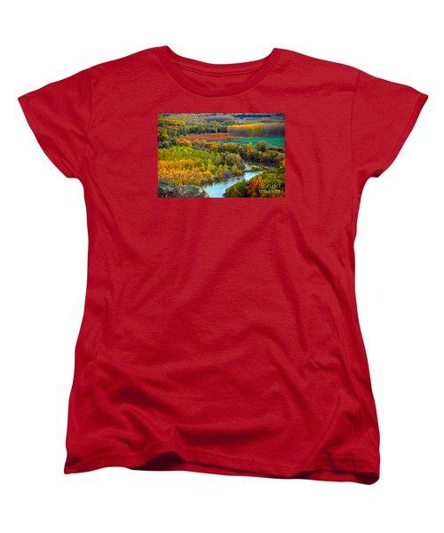 Autumn Colors On The Ebro River Women's T-Shirt (Standard Cut) by RicardMN Photography