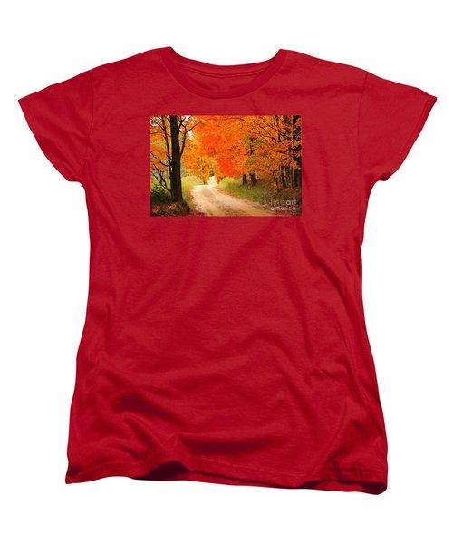 Women's T-Shirt (Standard Cut) featuring the photograph Autumn Trail by Terri Gostola