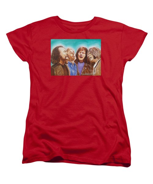 Crosby Stills Nash And Young Women's T-Shirt (Standard Cut) by Kean Butterfield