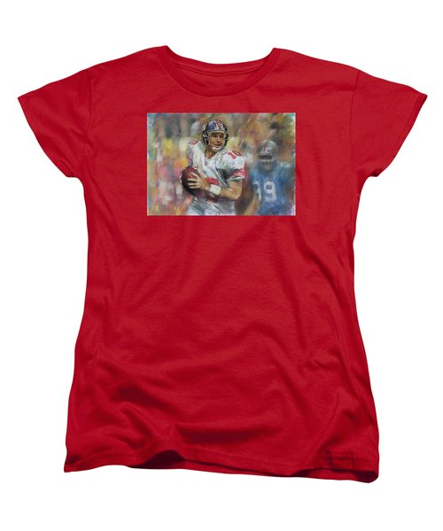 Women's T-Shirt (Standard Cut) featuring the drawing Eli Manning Nfl Ny Giants by Viola El