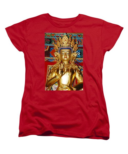 Women's T-Shirt (Standard Cut) featuring the photograph Five Dhyani Buddhas by Lanjee Chee