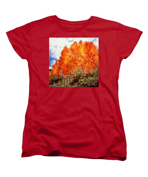Women's T-Shirt (Standard Cut) featuring the painting Flaming Aspens 2 by Barbara Jewell