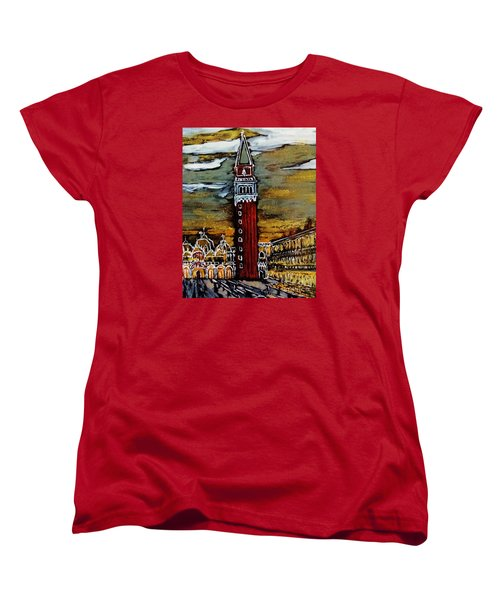 Women's T-Shirt (Standard Cut) featuring the painting Golden Venice by Jasna Gopic