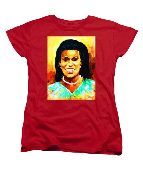 Women's T-Shirt (Standard Cut) featuring the painting Michelle Obama by Al Brown