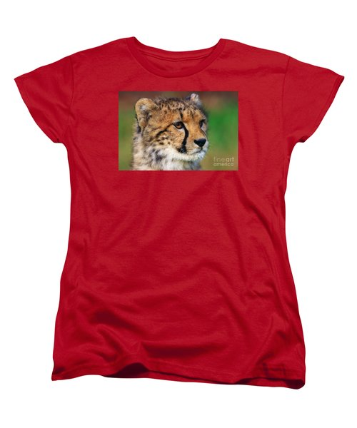 Portrait Of A Cheetah Cub Women's T-Shirt (Standard Cut) by Nick  Biemans