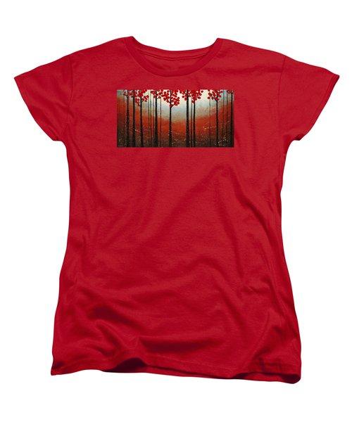 Red Blossom Women's T-Shirt (Standard Cut) by Carmen Guedez