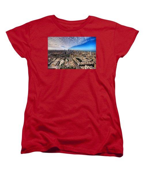Tel Aviv Skyline Women's T-Shirt (Standard Cut) by Ron Shoshani