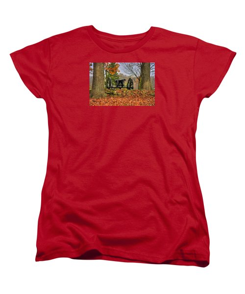 Women's T-Shirt (Standard Cut) featuring the photograph War Thunder - The Charlotte North Carolina Artillery Grahams Battery West Confederate Ave Gettysburg by Michael Mazaika